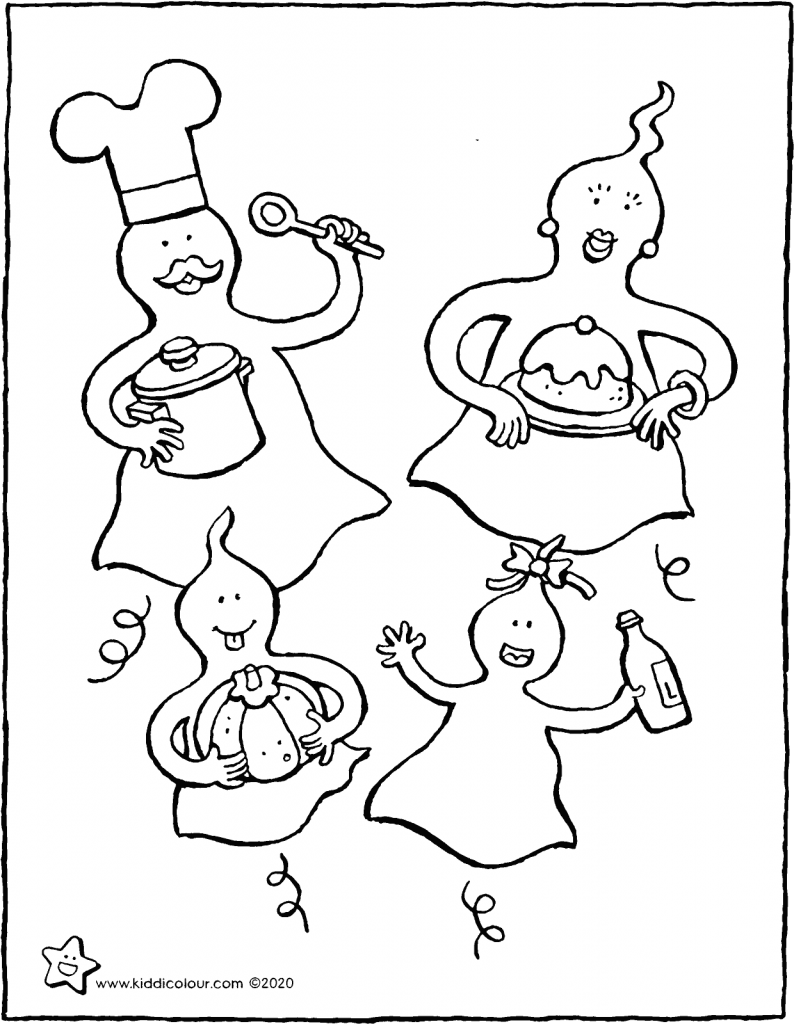 the ghost family is going to a party colouring page drawing picture 01V