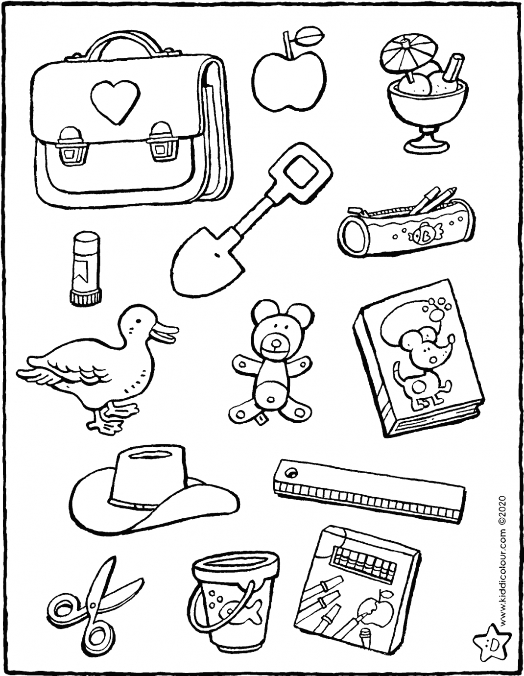 which objects would you find at school colouring page drawing picture 01V
