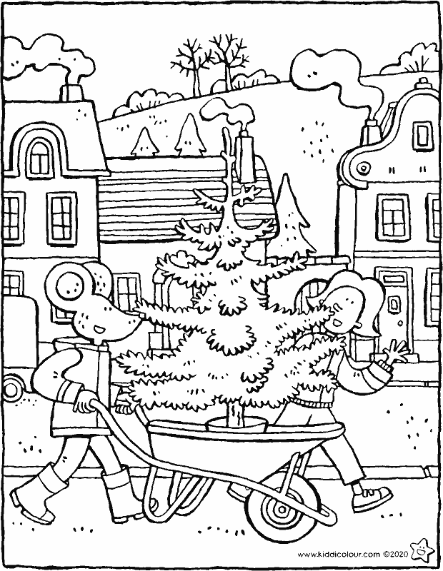 Emma and Thomas fetch a Christmas tree colouring page drawing picture 01k
