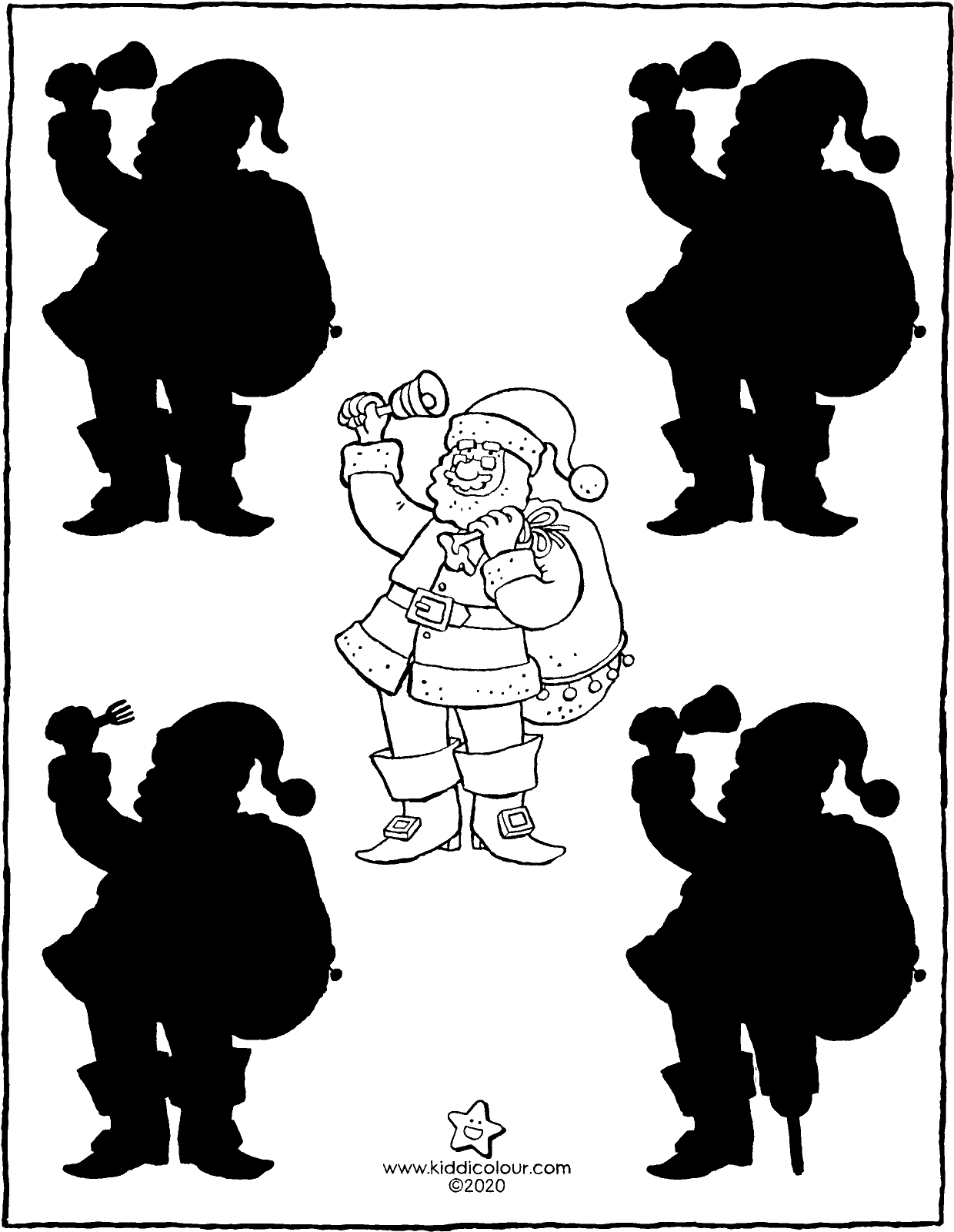 Father Christmas and his shadow colouring page drawing picture 01V