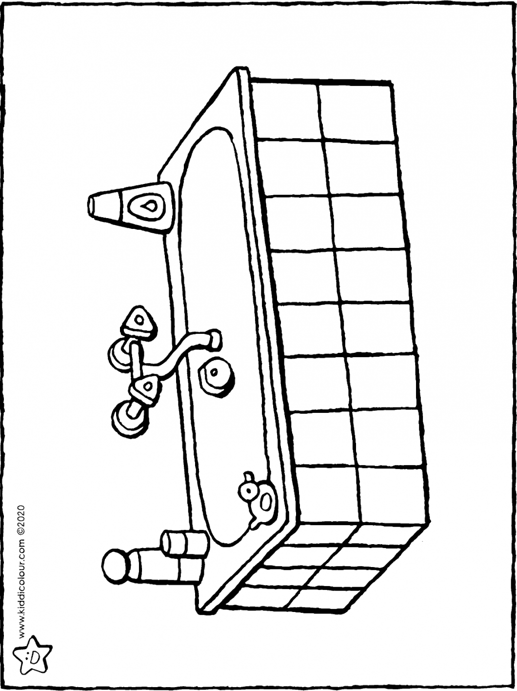 bath colouring page drawing picture 01H