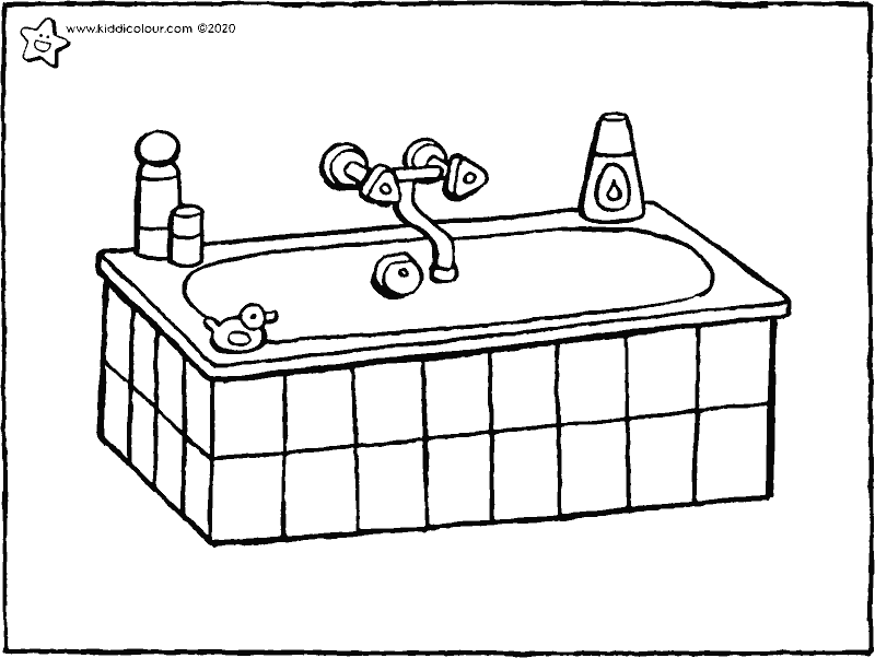 bath colouring page drawing picture 01k