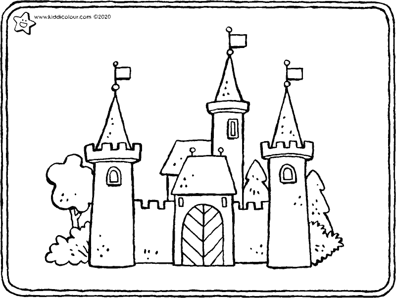 castle colouring page drawing colouring picture 01k