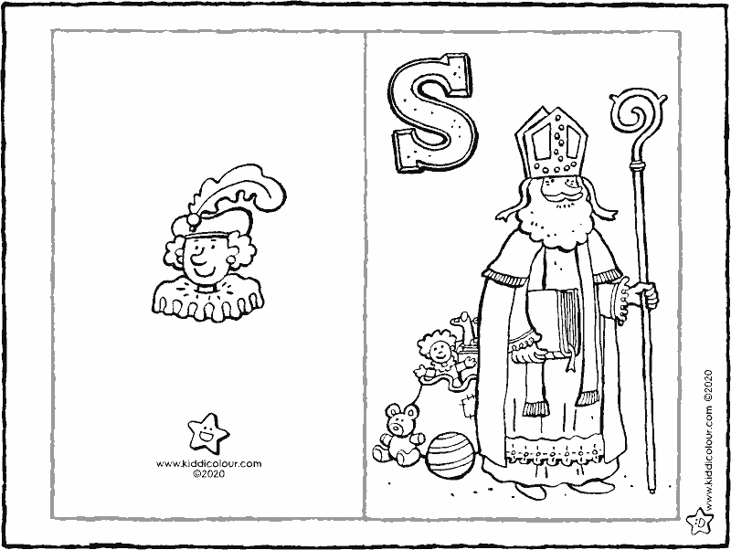 make your own Saint Nicholas greetings card colouring page drawing colouring picture 01k