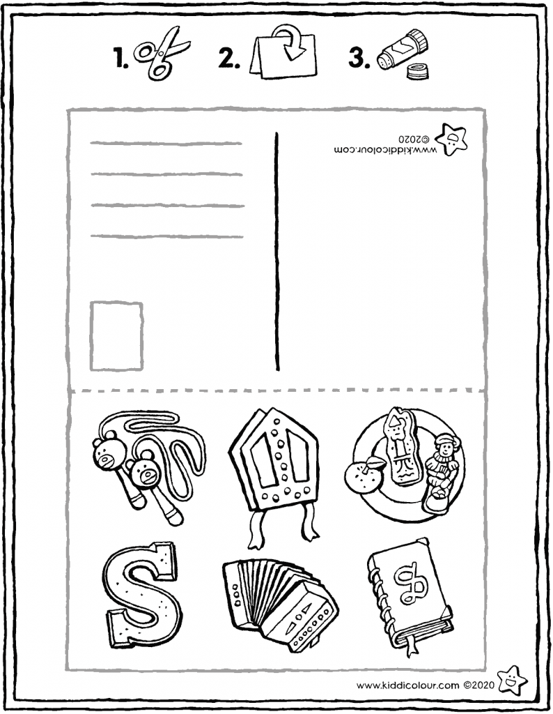 make your own Saint Nicholas postcard colouring page drawing picture 01V