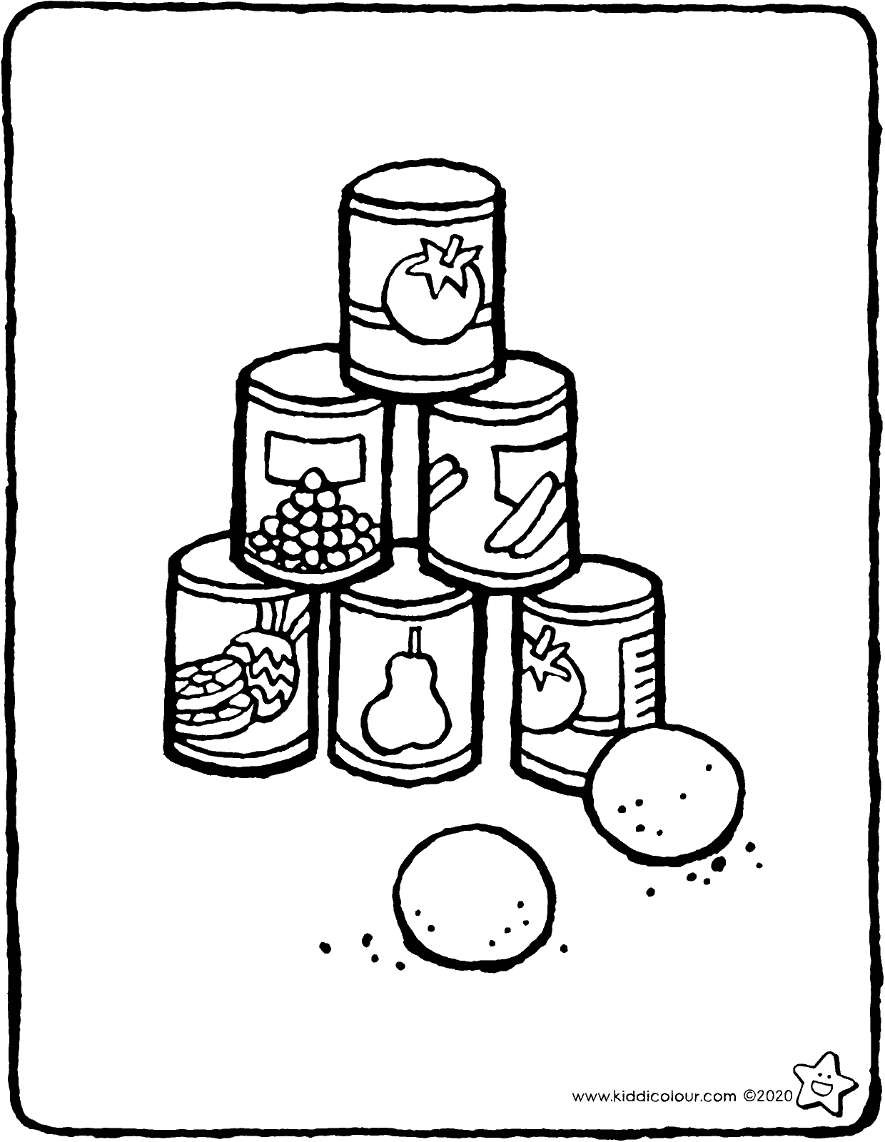 tin can alley throwing game colouring page drawing colouring picture 01V