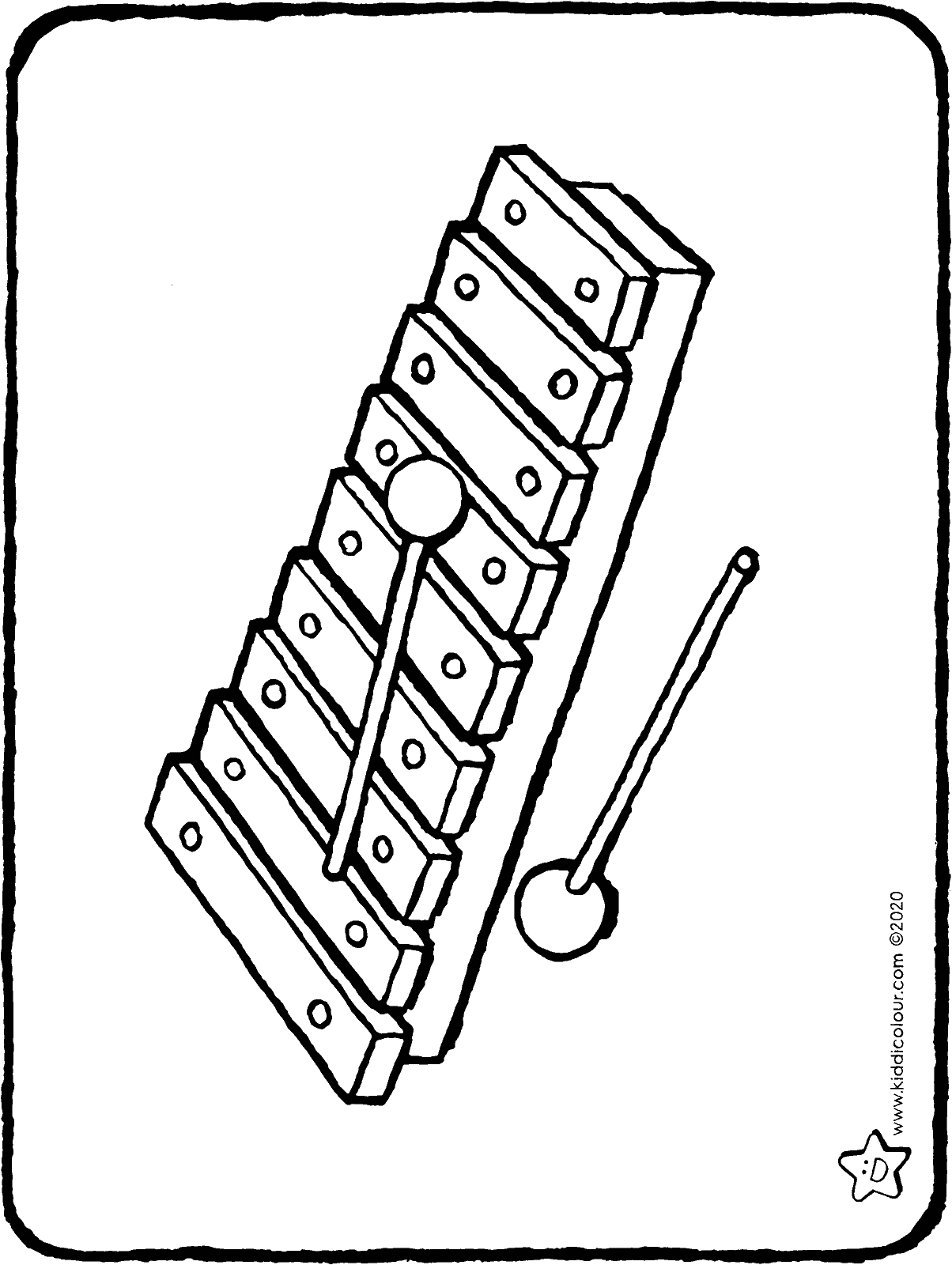 xylophone colouring page drawing colouring picture 01H
