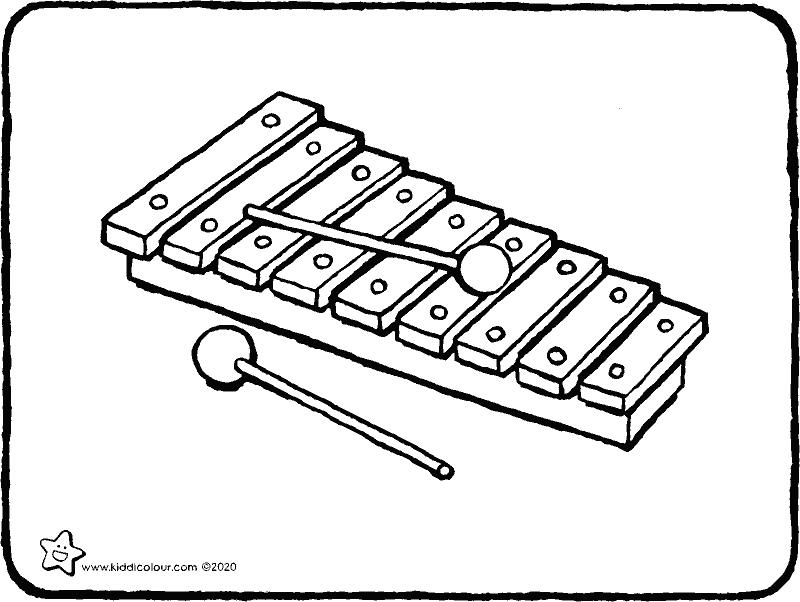 xylophone colouring page drawing colouring picture 01k