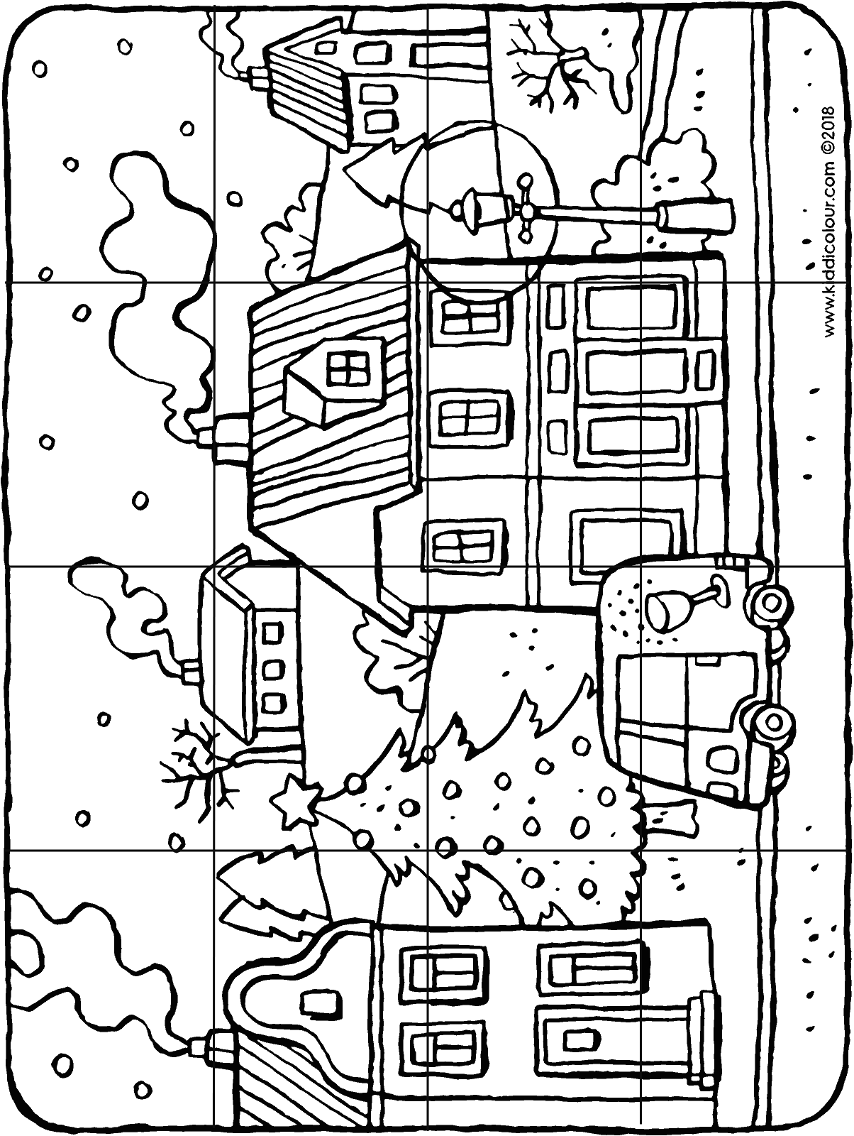 16-piece puzzle winter in a village colouring page drawing picture 01H