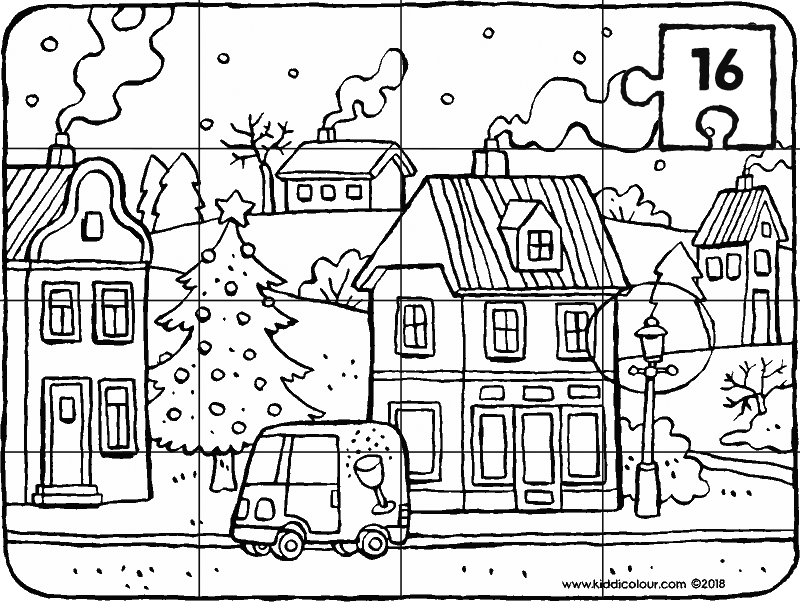 16-piece puzzle winter in a village colouring page drawing picture 01k
