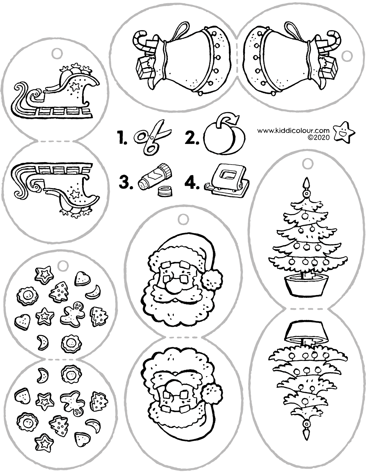 Christmas tree decoration colouring page drawing picture 01V