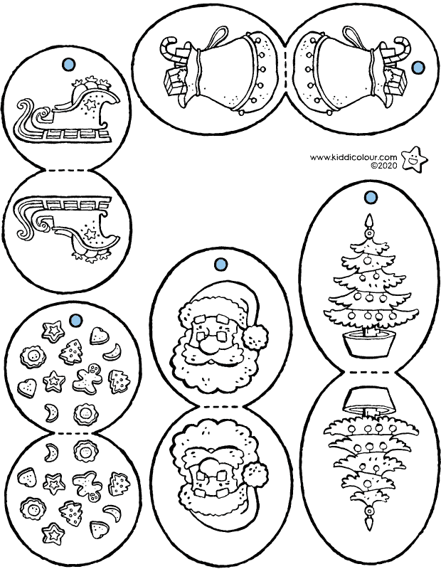 Christmas tree decoration colouring page drawing picture 01k