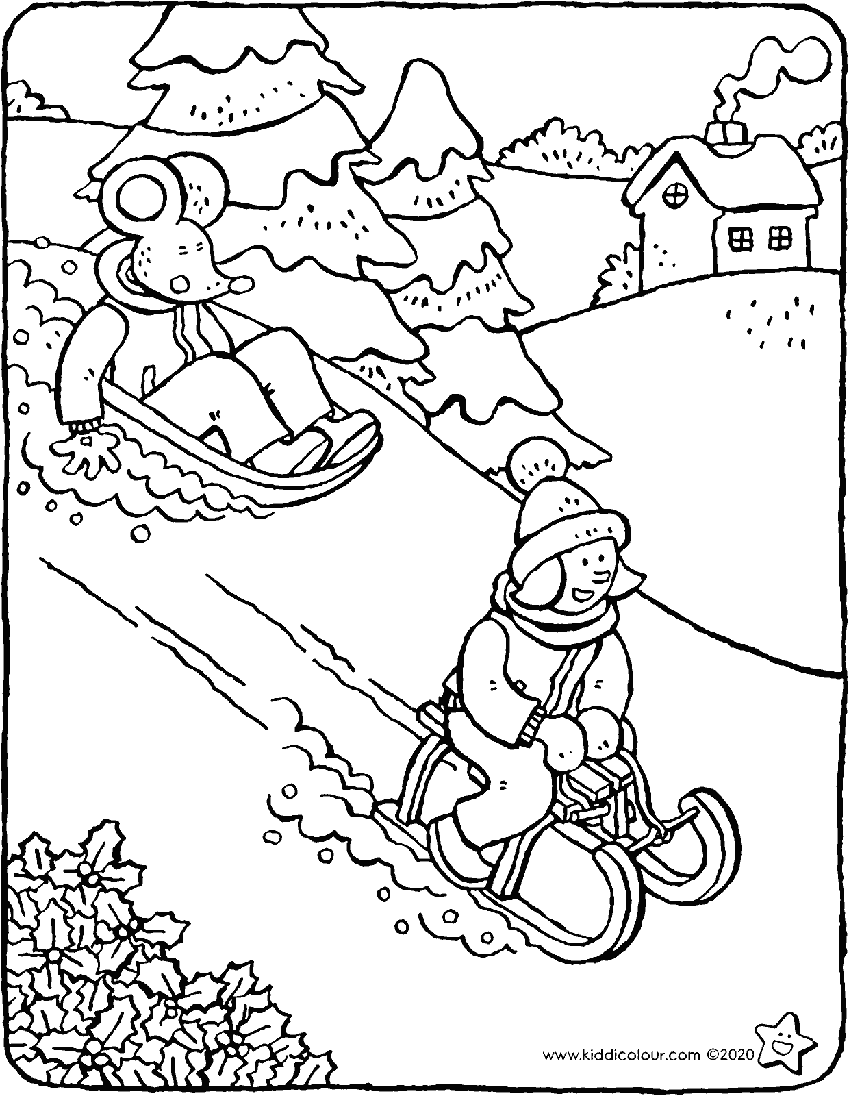 Emma and Thomas go sledging colouring page drawing picture 01V