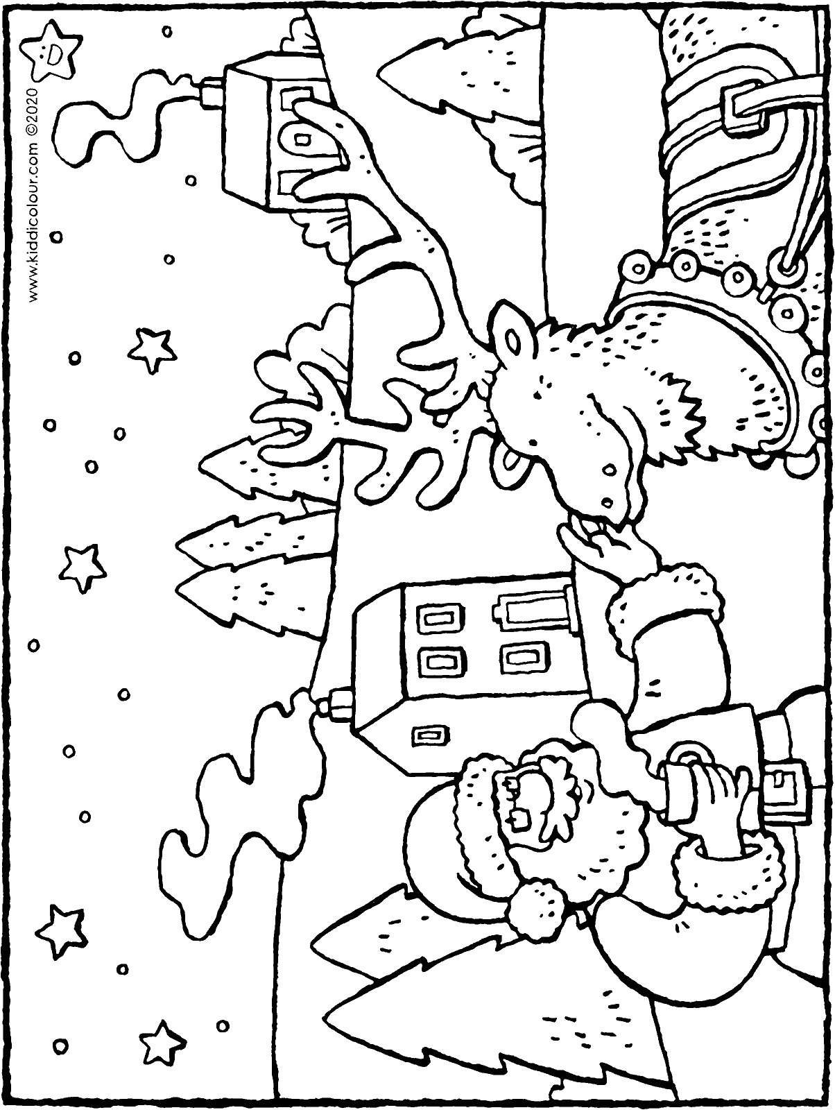 Father Christmas and his reindeer colouring page drawing picture 01H