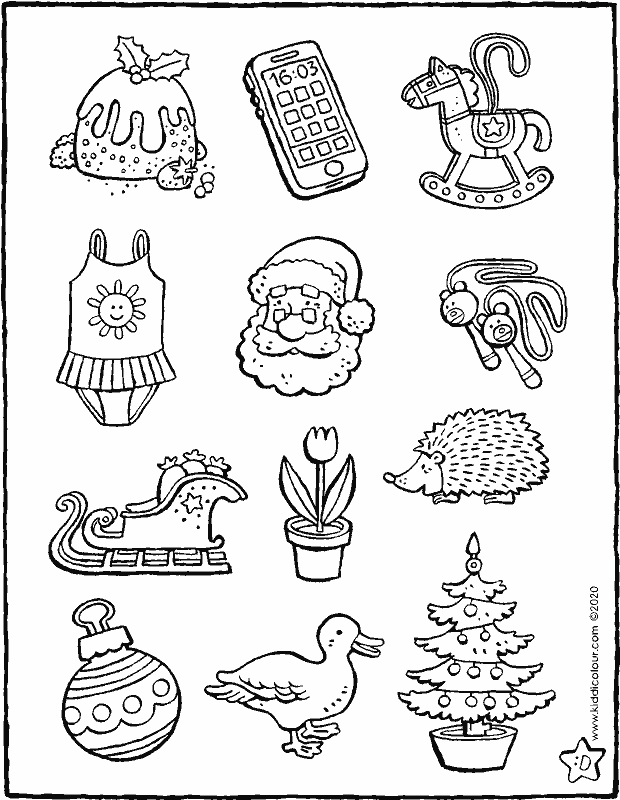 colour everything that's linked to Christmas colouring page drawing picture 01k