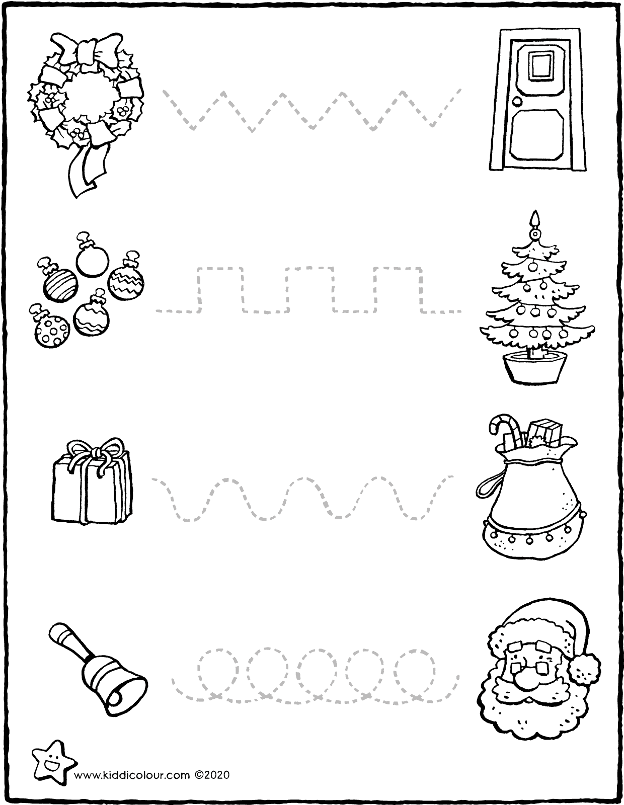 follow the dotted lines and celebrate Christmas colouring page drawing picture 01V