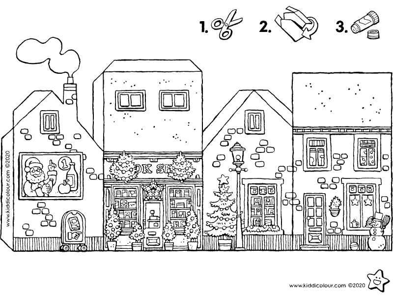 make your own Christmassy bookshop colouring page drawing picture 01k