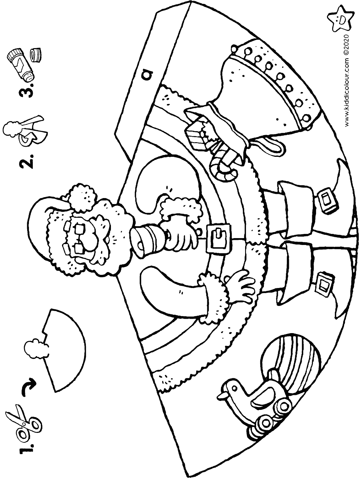 make your own Father Christmas doll colouring page drawing picture 01H