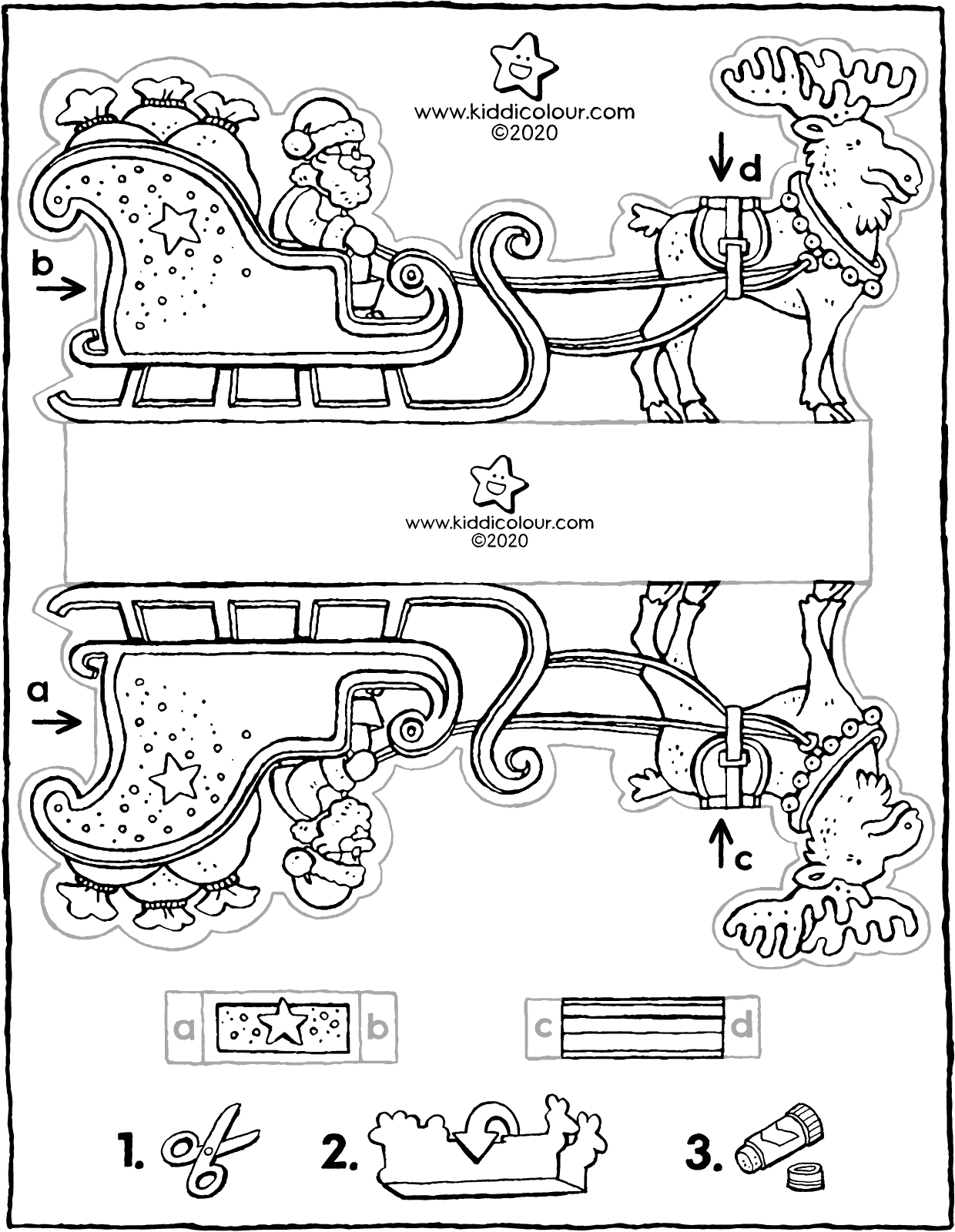 make your own Father Christmas with sleigh colouring page drawing picture 01V