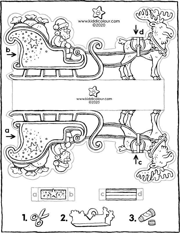 make your own Father Christmas with sleigh colouring page drawing picture 01k