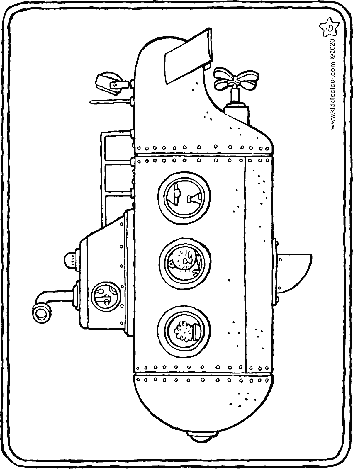 submarine colouring page drawing picture 01H