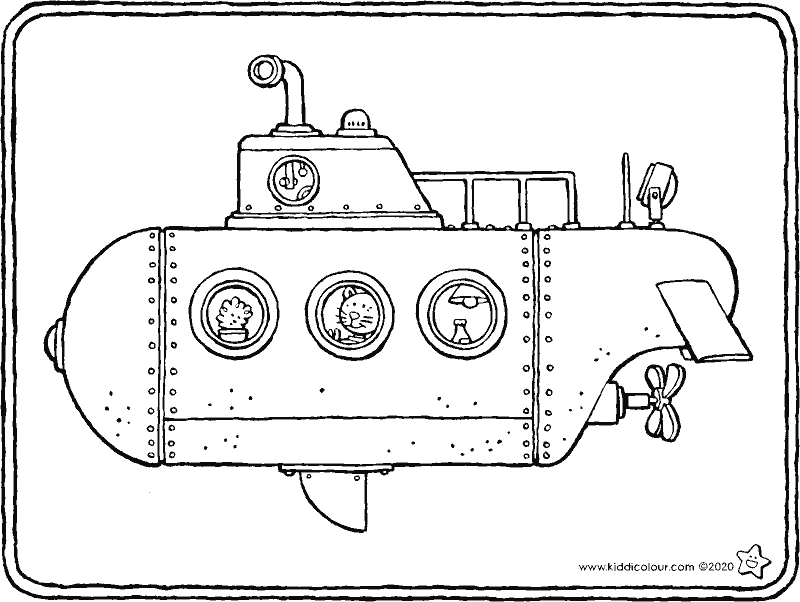 submarine colouring page drawing picture 01k