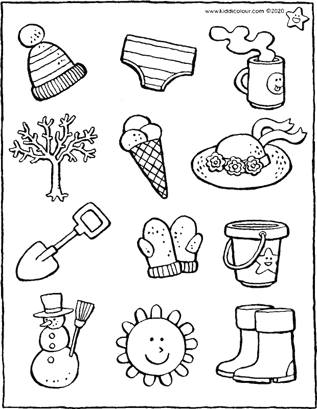 which objects relate to winter colouring page drawing picture 01k