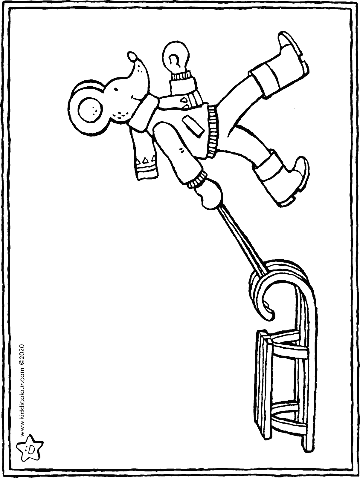 Thomas and the sledge colouring page drawing picture 01H