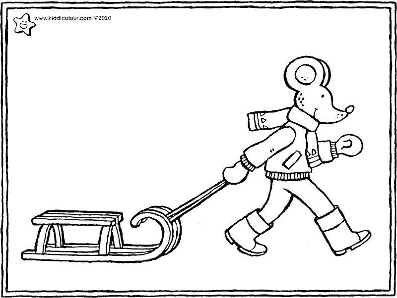Thomas and the sledge colouring page drawing picture 01k