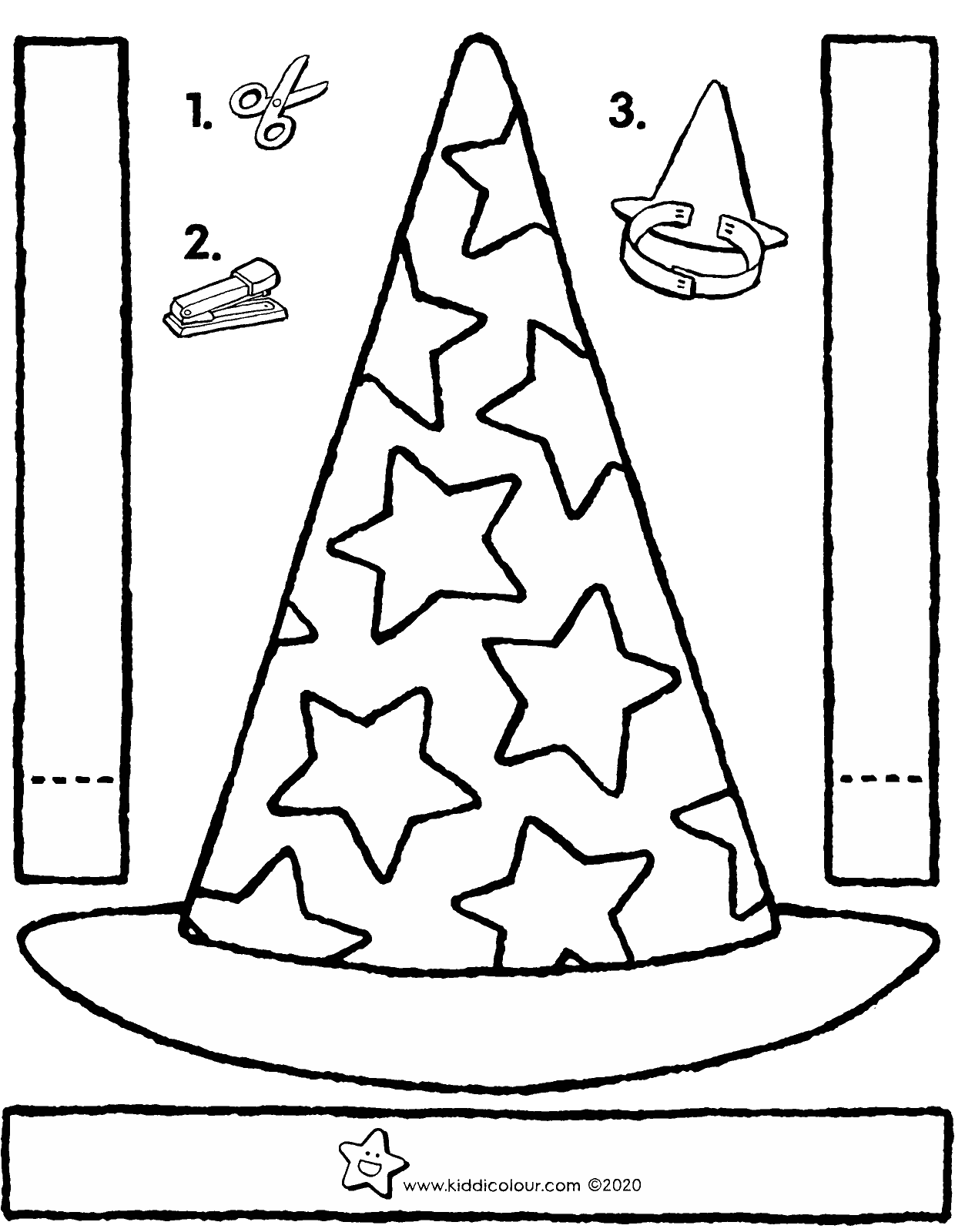 make your own magician's hat with stars colouring page drawing picture 01V