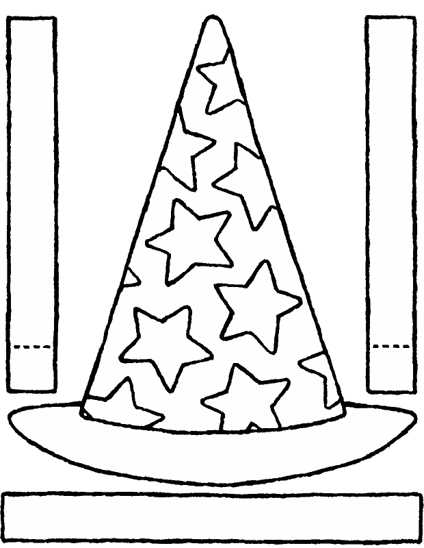 make your own magician's hat with stars colouring page drawing picture 01k