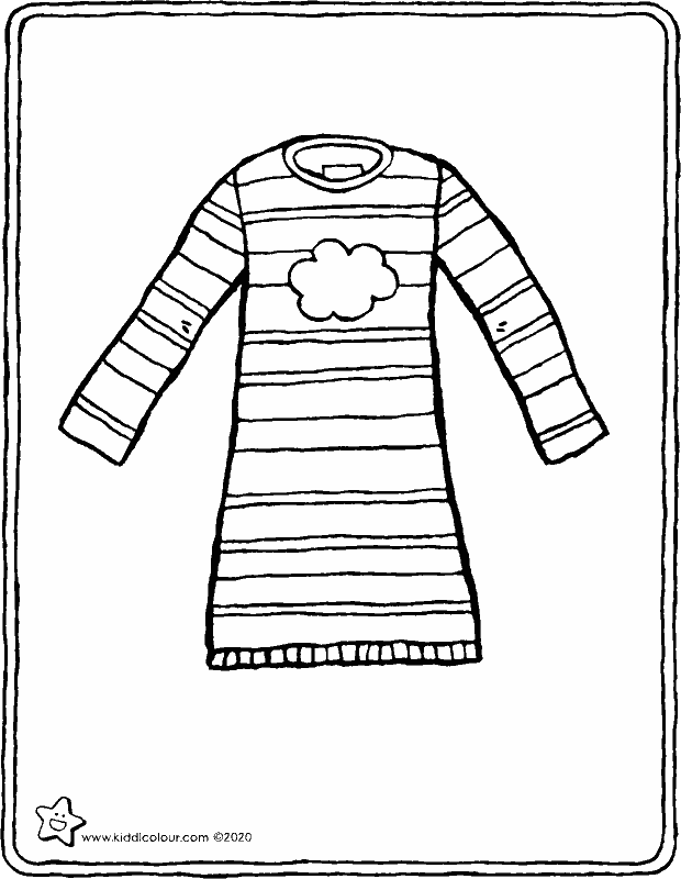 nightdress colouring page drawing picture 01k
