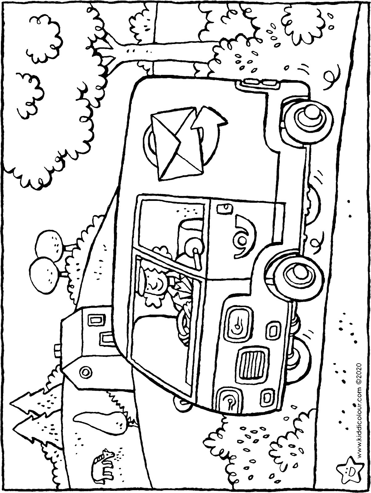postal worker in post van colouring page drawing picture 01H
