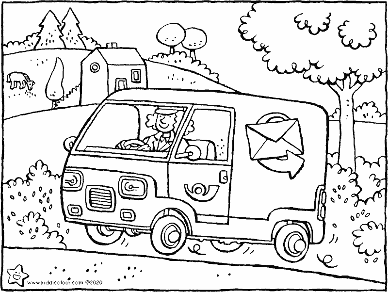 postal worker in post van colouring page drawing picture 01k