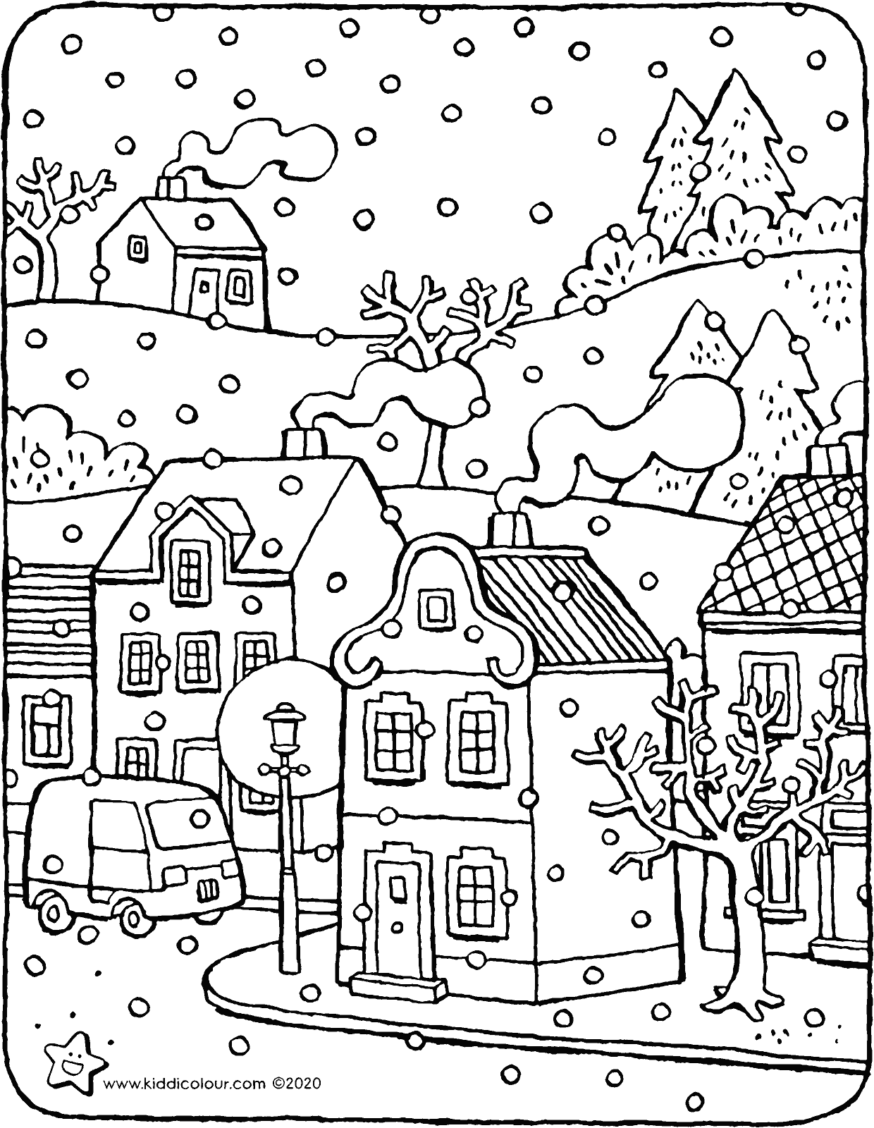 the first snow colouring page drawing picture 01V