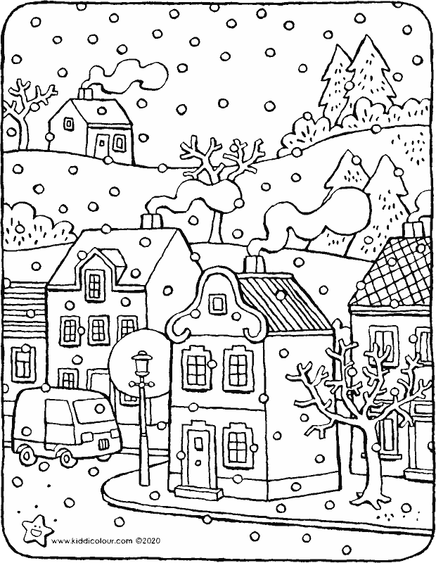 the first snow colouring page drawing picture 01k