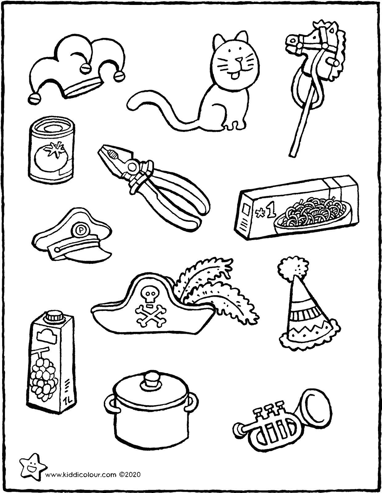colour in the carnival objects colouring page drawing picture 01V