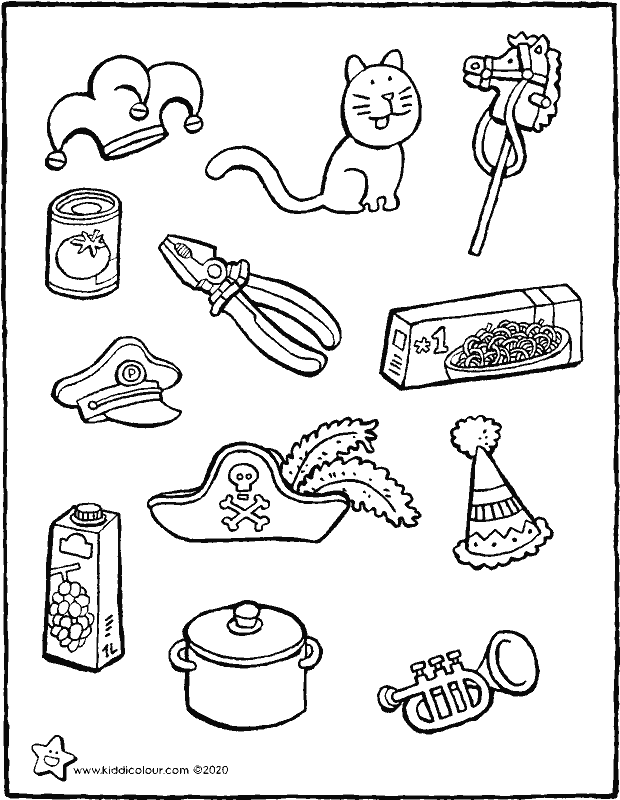 colour in the carnival objects colouring page drawing picture 01k