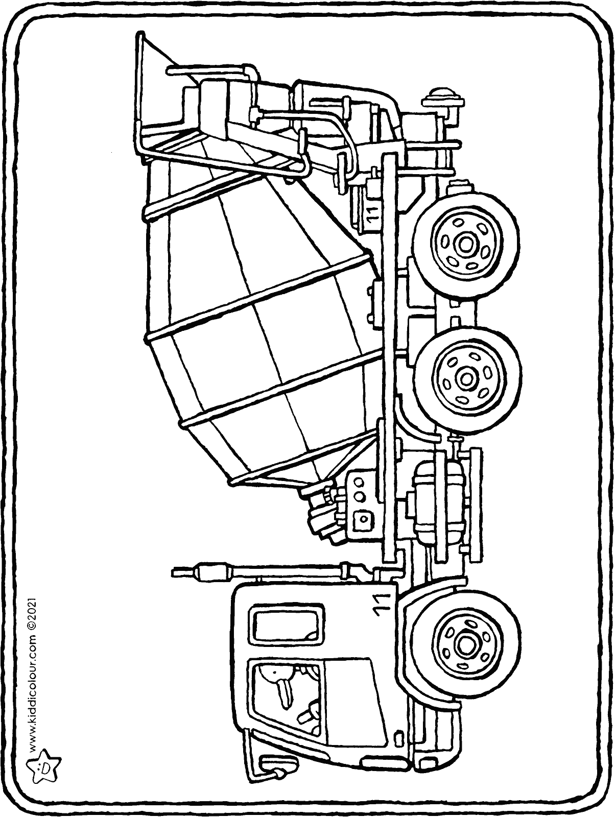 concrete mixer truck colouring page drawing picture 01H