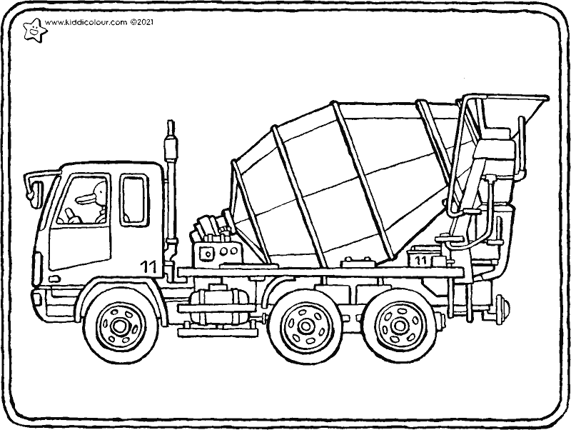 concrete mixer truck colouring page drawing picture 01k