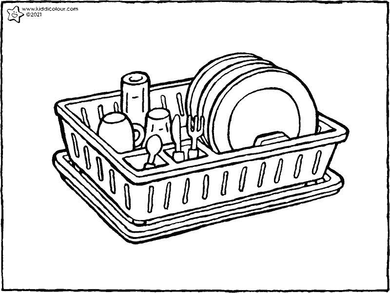 dish rack colouring page drawing picture 01k