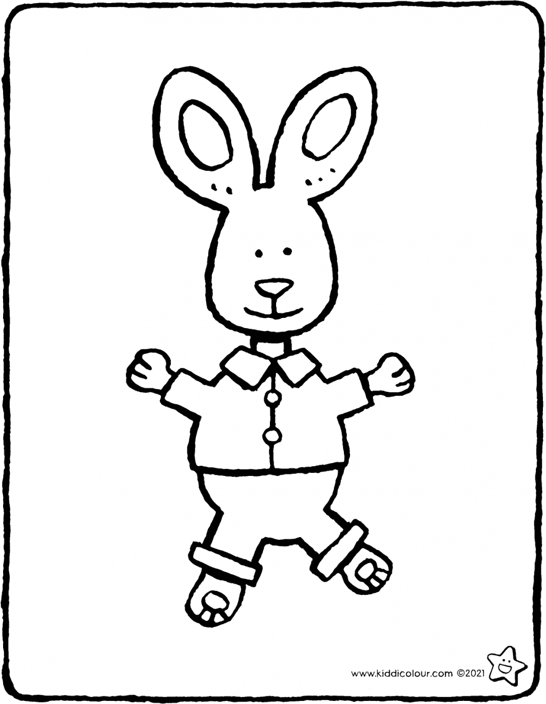 rabbit cuddly toy colouring page drawing picture 01V