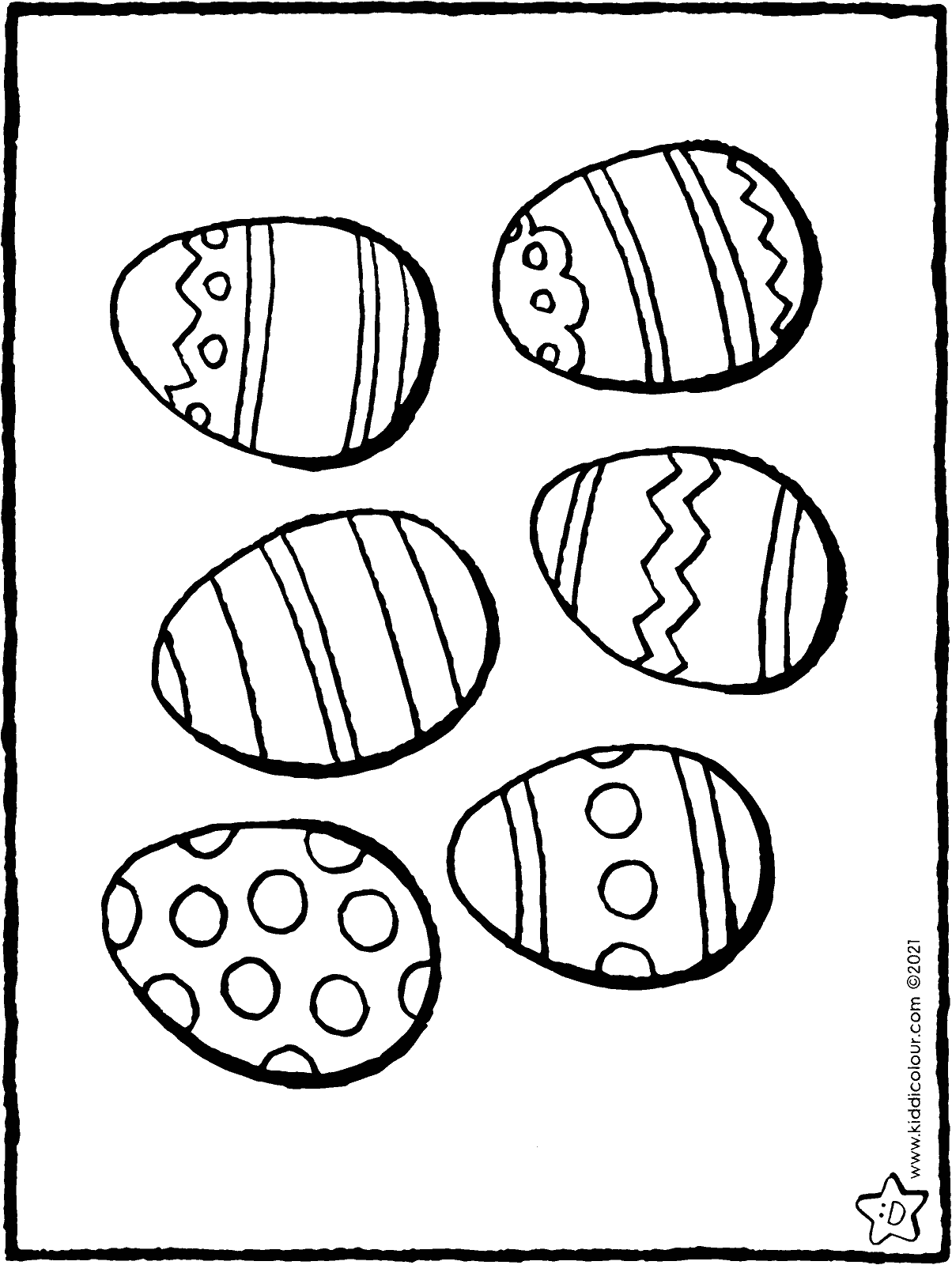 6 Easter eggs colouring page drawing picture 01H
