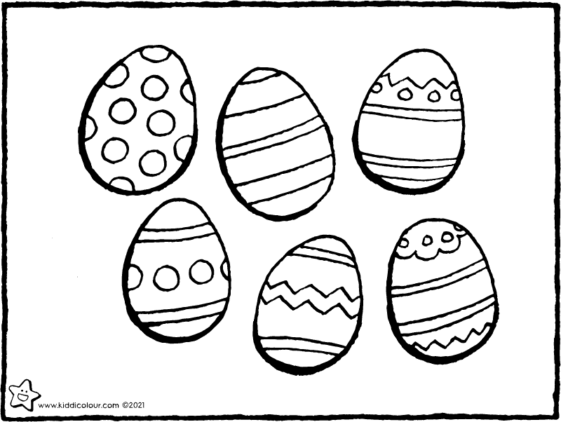 6 Easter eggs colouring page drawing picture 01k