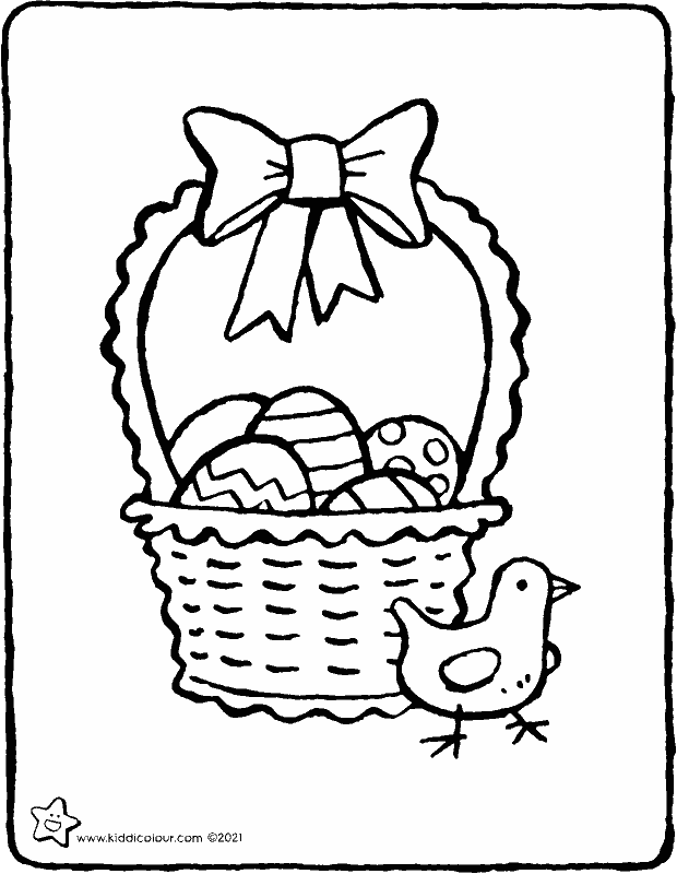 Easter basket with Easter eggs and chick colouring page drawing picture 01k