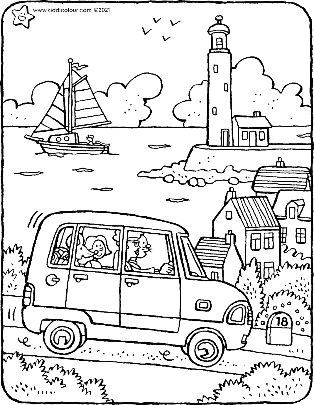 Emma and Thomas go on holiday to the seaside colouring page drawing picture 01V