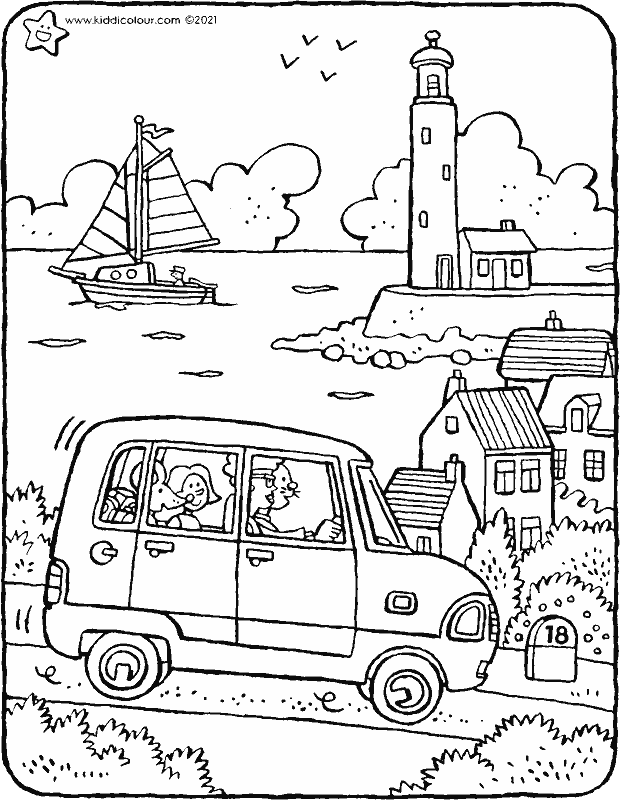 Emma and Thomas go on holiday to the seaside colouring page drawing picture 01k
