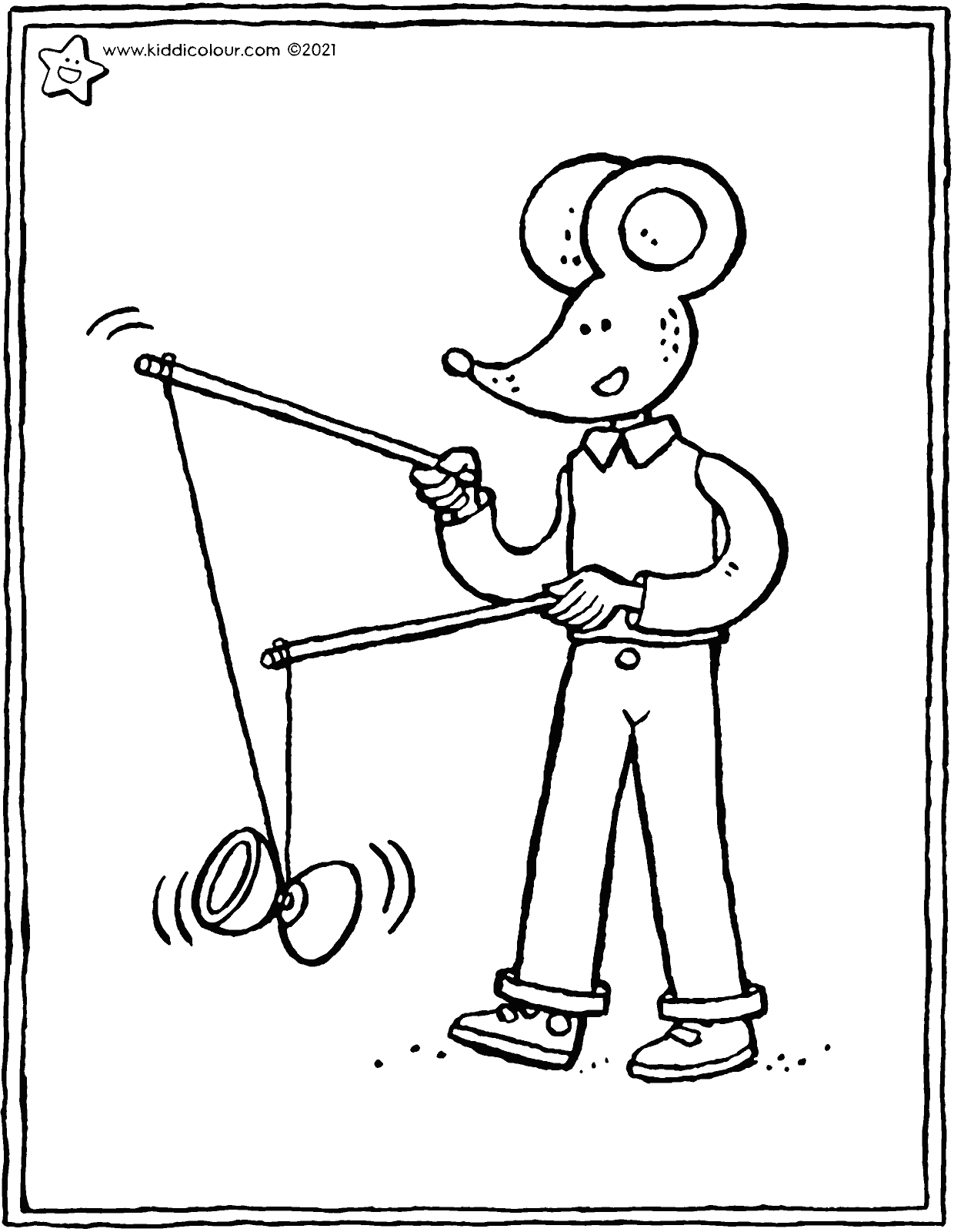 Thomas playing with a diabolo colouring page drawing picture 01V