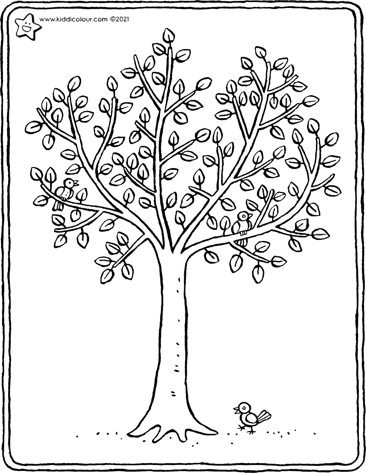a tree in spring colouring page drawing picture 01V