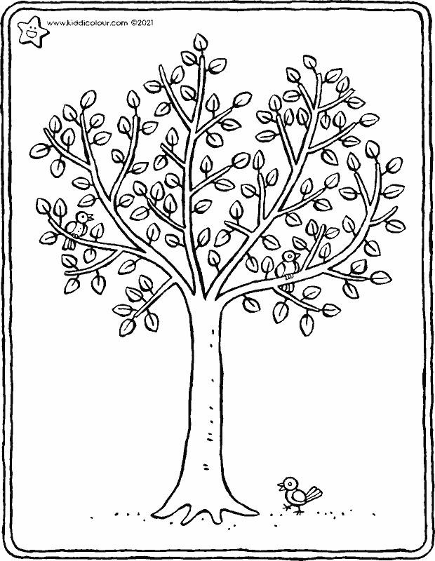 a tree in spring colouring page drawing picture 01k